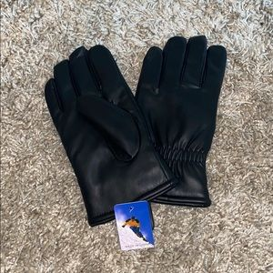 Black thick leather gloves